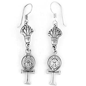 Egyptian Jewelry Silver Ankh and Scarab Earrings