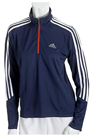 Adidas Women's Wildwood Long-Sleeve Half-Zip Top,Dark Indigo / White / Reflective Silver,Small