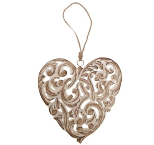 RJB Stone Nordic Carved Natural Wooden Heart Large RJBSILV055