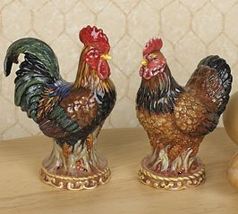 French Country Rooster And Chicken Salt And Pepper Shakers For Kitchen Decor