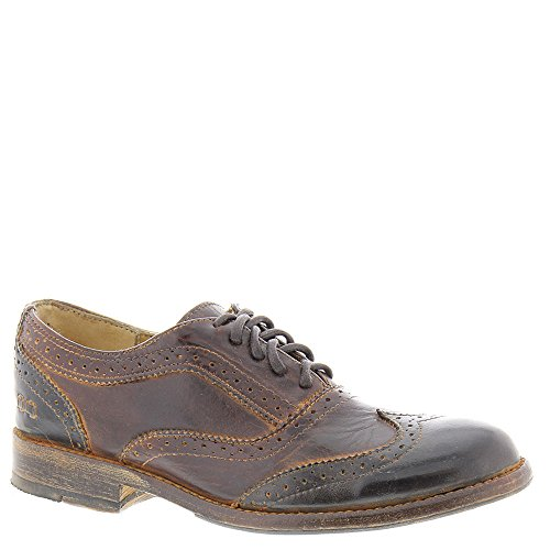 Bed stu Women's Lita Tuxedo Oxford, Teak/Black Rustic Rust Leather, 8.5 M US