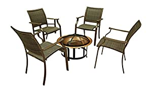 Panama Jack Outdoor Island Cove Woven 5-Piece Set Gathering Set, Includes 4 Armchair and 1 Fire Pit