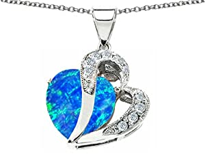 Star K Heart Shape 12mm Simulated Blue Opal Pendant