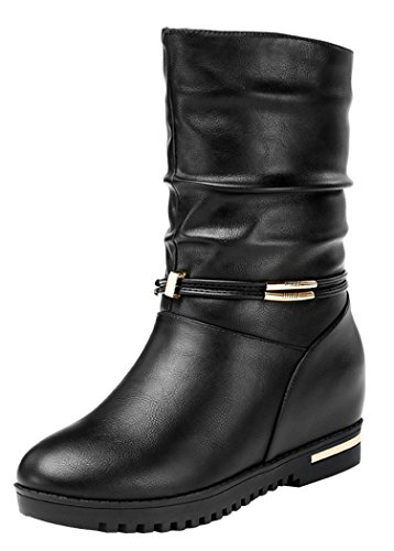 Guciheaven Women Winter New Style Invisible In Elevator Shoes(8.5 B(M)Us, Black)