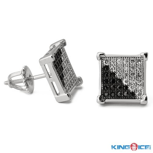 King Ice Ying Yang Silver Plated Earrings