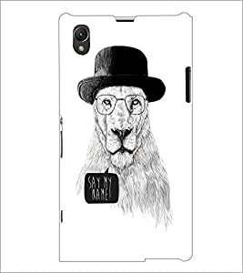 PrintDhaba Lion Sketch D-1060 Back Case Cover for SONY XPERIA Z1 (Multi-Coloured)