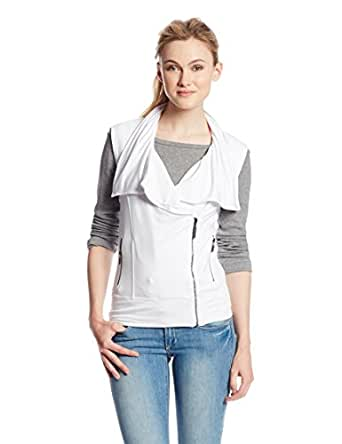 Kensie Women's Drapey French Terry Zip Vest, White, Small