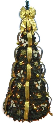 6' Pre-Lit Pull Up Decorated Christmas Tree in Gold/Ivory with Clear LED Lights