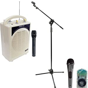Pyle Speaker, Mic, Cable and Stand Package - PWMA100 Rechargeable Portable PA System with Wireless MIC - PDMIK2 Professional Moving Coil Dynamic Handheld Microphone - PMKS3 Tripod Microphone Stand W/ Extending Boom - PPFMXLR15 15ft. XLR Male to XLR Female Microphone Cable