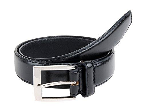 Sportoli™ Mens Classic Stitched Genuine Leather Uniform Belt - Black (46)
