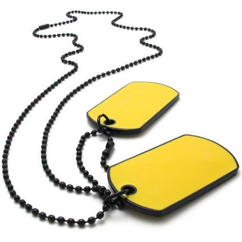 KONOV Jewelry Army Style 2pcs Dog Tag Pendant Necklace Chain, Yellow