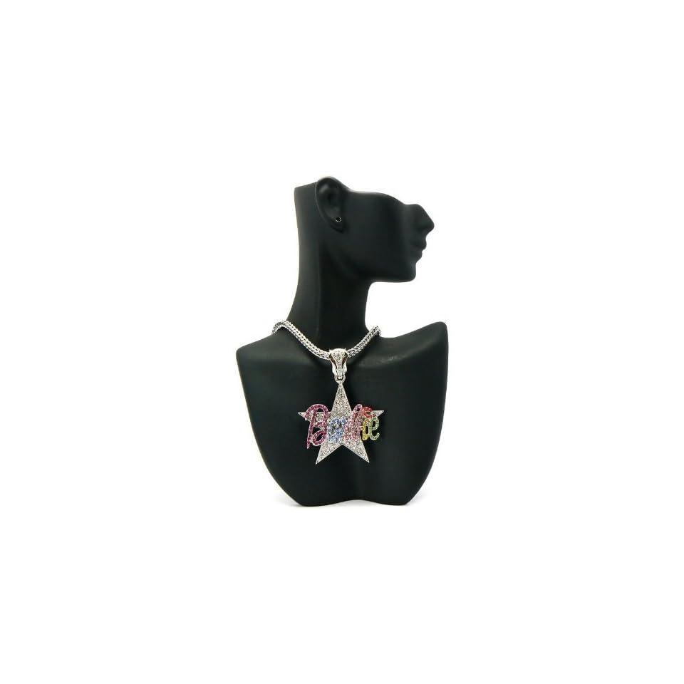 NICKI MINAJ BARBIE Star Pendant w/Franco Chain Silver/Multi MP603