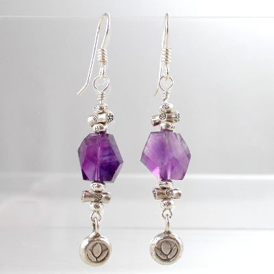 Amethyst Gemstone Bead Dangle Earrings with Lotus Flower Blossom in Sterling Silver, #8839