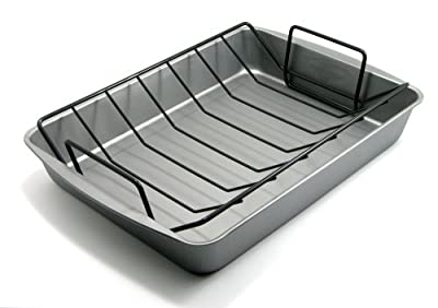 OvenStuff Non-Stick 17.2 by 12.7 by 2.7 Inch Large Roasting Pan with Rack