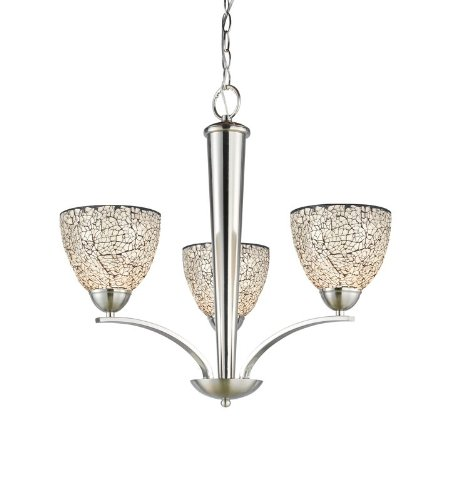 Woodbridge Lighting 13013STN-M21WHT 23-Inch by 23-1/2-Inch North Bay 3-Light Chandelier, Satin Nickel