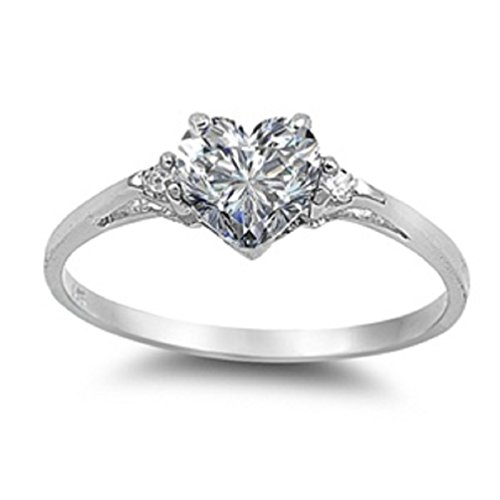 Heart Shaped Promise Ring 925 Sterling Silver with CZ Band Sizes 3-13 (12)