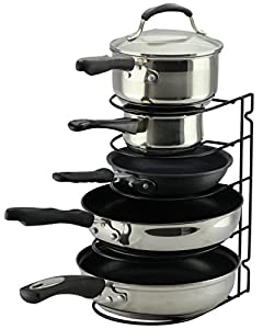 Pan Rack Organizer Holder for Kitchen, Countertop, Cabinet, and Pantry