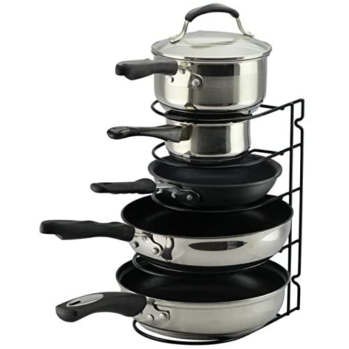 Pan Rack Organizer Holder for Kitchen, Countertop, Cabinet, and Pantry (BlackII)