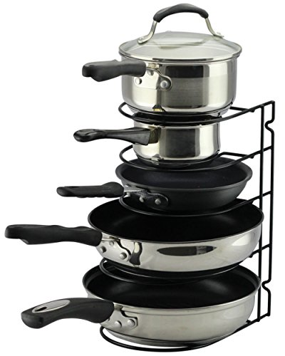 Pan Rack Organizer Holder for Kitchen, Countertop, Cabinet, and Pantry (BlackII) (Pot Pan Holder Rack compare prices)