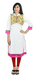 SAIFASHIONS Women's Viscose Kurta (KURTI_SAI_400, White, Large)