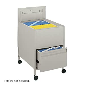 Safco Products Locking Mobile Tub File with Drawer, Legal Size, Putty, 5365PT