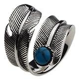 【シルバーアクセサリー リング・指輪】 フリーサイズ フェザー ブルーターコイズ メンズ cenote-r0352