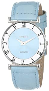 Jowissa Women's J2.014.M Roma Pastell Turquoise Leather Sunray Roman Numerals Watch