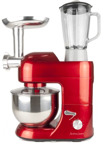 Andrew James Multifunctional Red 5.2 Food Mixer With Meat Grinder And 1.5 Litre Blender Attachments by Andrew James