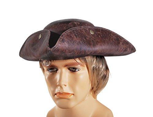 Loftus International Leatherette Pirate Tri-Corner Explorer Costume Hat, Brown, One Size