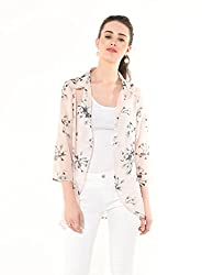 Besiva Women's Pink Printed Cardigan