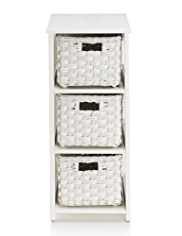 White Rattan 3-Tier Storage Unit