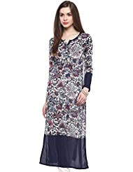 IVES Rayon Printed White Straight Regular Fit Kurti For Women