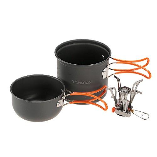 TOMSHOO Set de cuisson mini Réchaud de Camping piézoélectriques + Casserole + Poêle à frire pique-nique Set de pique nique Camping randonnée
