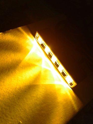 Amber 5 Led Pod Light Strip Module Chrome Housing 12V Dc Accent Lighting (Pack Of 4)