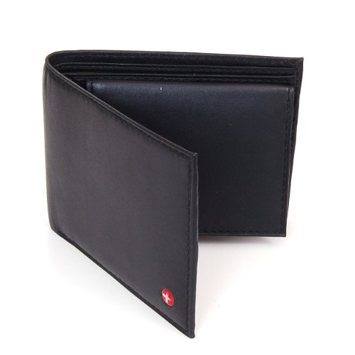 Alpine Swiss Mens Leather Bifold Wallet with Flip Up ID Window - Removable - Black Comes in a Gift Bag