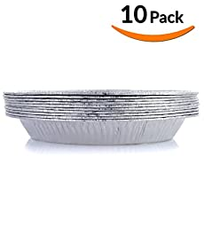 DOBI Pie Pans - Disposable Aluminum Foil Pie Plates, Standard Size - 9 x 1.75 Inches, Pack of 10. Favorite Pie Tin for Homemade Cakes & Pies