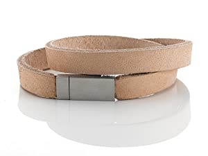 Tan Leather Double Wrap Bracelet With Magnetic Stainless Steel Clasp