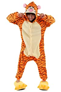 Unisex Adult Anime Cosplay Costumes Onesie Pajamas Pyjamas Sleepwear Nightclothes Gift For Christmas (Tigger)