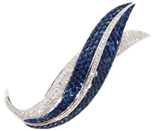 Diamond Blue Sapphire Brooch/Pin Unique 18K White Gold [I_017]