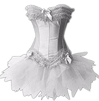 Forever Young Burlesque Moulin Rouge Lolita FANCY DRESS Corset & Tutu (UK Size 8, White Corset & White Tutu)