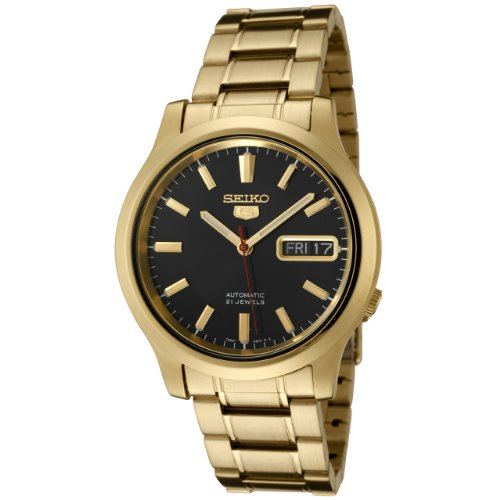 Seiko Men's 5 Automatic SNK796K Gold Gold Tone Stainles-Steel Automatic Watch with Black Dial