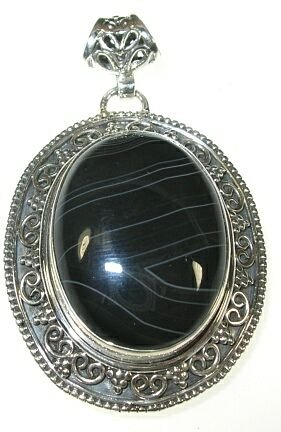 Banded Agate & Silver Filagree Pendant