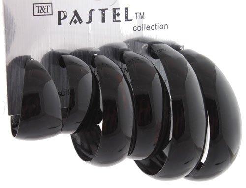 Ladies Glossy Jet Black 3 Pack of Plastic Pin Catch Hoops Earrings