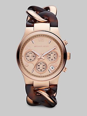 Michael Kors Runway Rose Gold-tone Tortoise Twist