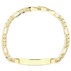 Amazon.com: 14k Yellow Gold Figaro Men's ID Bracelet, 8.25 ...