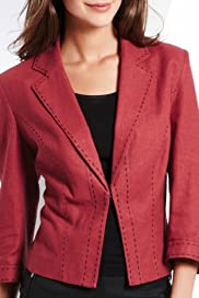 Linen Blend Saddle Stitch Single Breasted Jacket [T59-1651J-S]