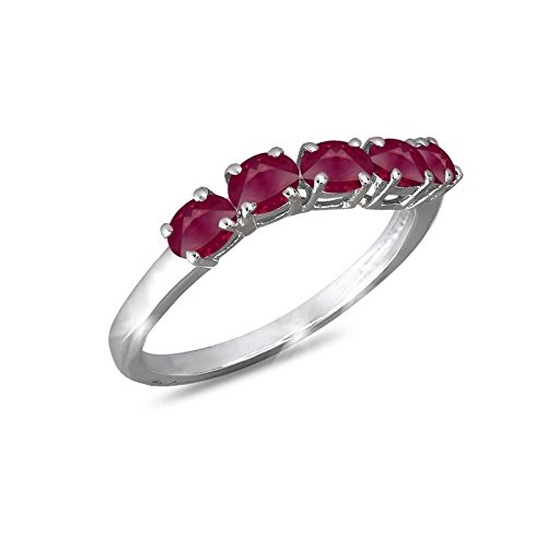 adens - Five Ruby Ring Silver on Silver