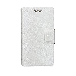J Cover Krish Series Leather Pouch Flip Case With Silicon Holder For Lyf Wind 5 White