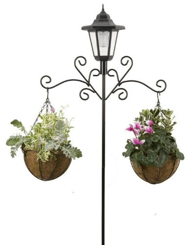 Roots & Shoots Solar Lantern Stand with Hanging Baskets