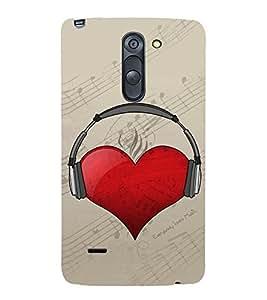 Heart with Headphone 3D Hard Polycarbonate Designer Back Case Cover for LG G3 Stylus :: LG G3 Stylus D690N :: LG G3 Stylus D690